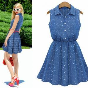 Women Denim Sleeveless Lapel Dress