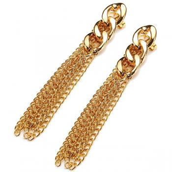 Gold Plated Long Tassel Drop Alloy Earrings